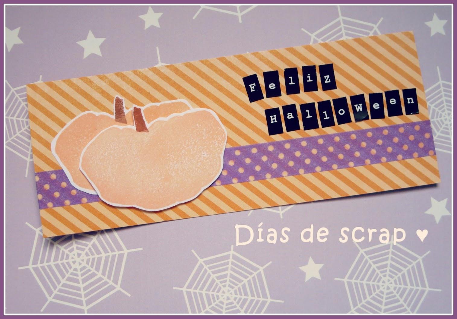 scrap Mini tarjeta calabaza Feliz Halloween