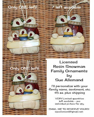 Personalized Snowman Family Ornaments by Sue Allemand - Limited Quantities Left!