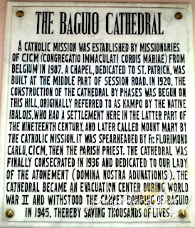 Copy of the historical posted at the Baguio Cathedral to educate visitors