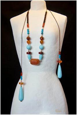 Collar gargantilla étnica en plata, turquesas, carneolas y aventurinas. Joyería Artesanal Personalizada