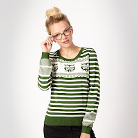 Green 'Geeky' Cat jumper - H! by Henry Holland