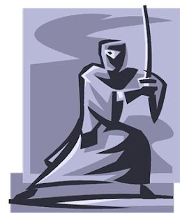 robed and hooded warrior holding a sword