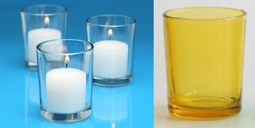 Bulk affordable colored votive candle holders with included candles from Candles DLight.