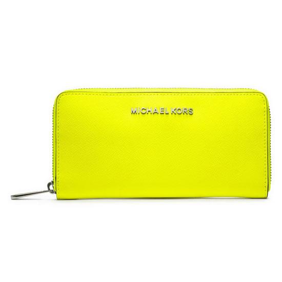 Michael Kors Jet Set Continental Travel Wallet Yellow