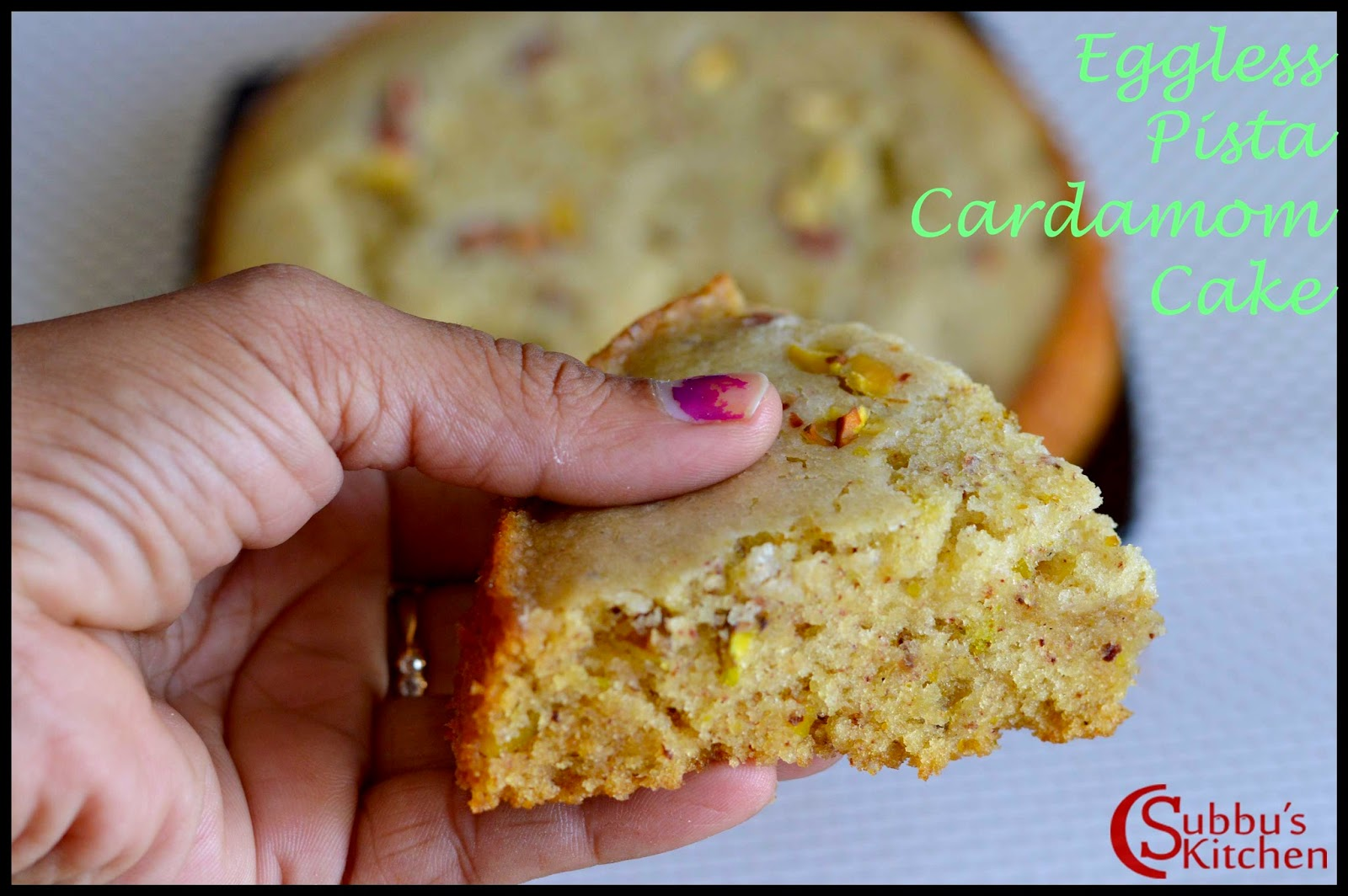 Eggless Pistachio Cardamom Cake Recipe (Pressure Cooker Method)