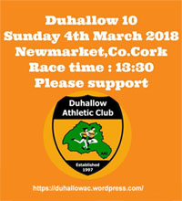 10 mile road race in Newmarket, Co.Cork...Sun 4th March 2018
