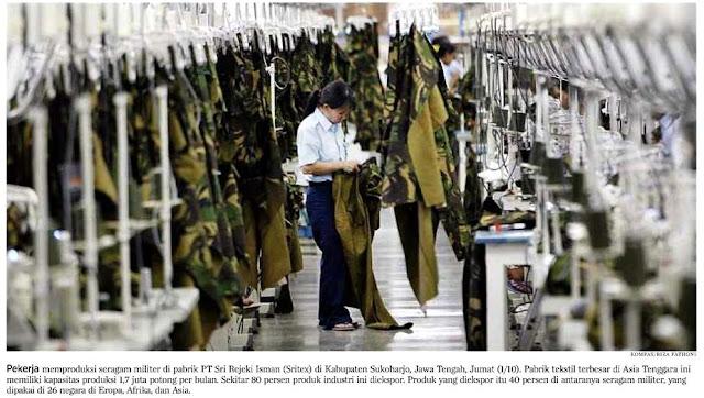 Sritex Produksi Seragam Tentara Anti Peluru NATO & AS
