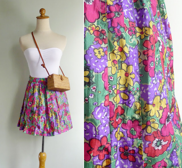 retro floral print tennis skirt