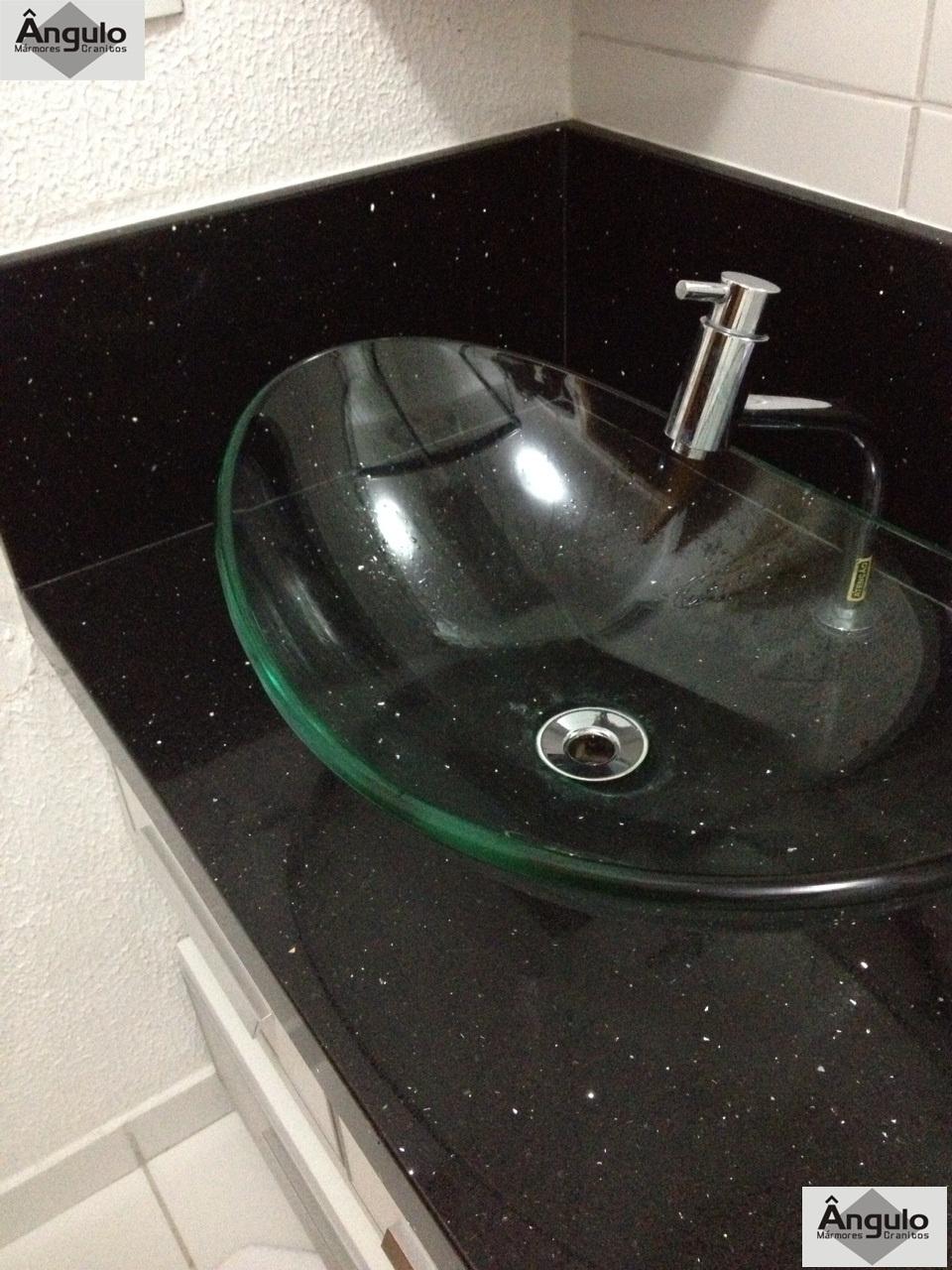 Ângulo Mármores e Granitos Bancada de Banheiro em Silestone Negro Stelar -> Cuba De Vidro Para Banheiro Suja Muito