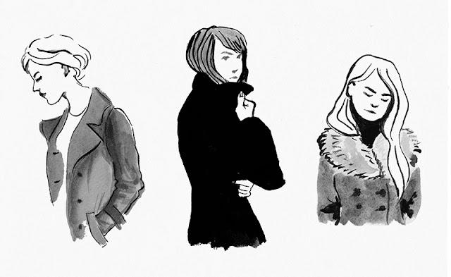 Tuschezeichnung mit 3 jungen Frauen in Mänteln