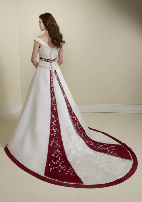 White With Red Wedding Dresses 86