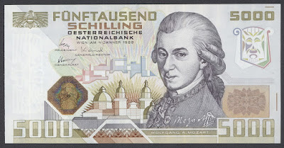 Austria currency 5000 Austrian Schilling Mozart banknote