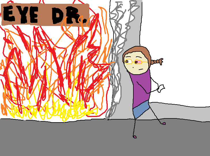 "Me walking away from a burning building.  You can still see the building's sign that says: ""Eye Dr."""
