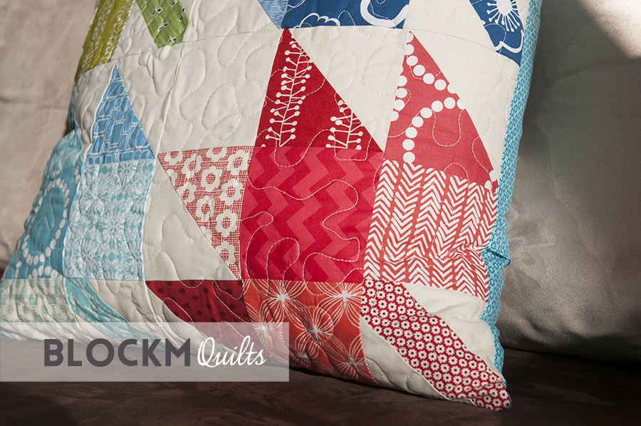 block M quilts: Modern maples pillow
