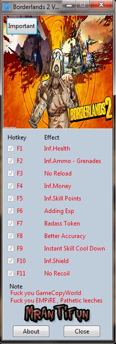 MrAntiFun Games Trainers: Borderlands 2 V1.0.55.49172 ... Borderlands 2 Trainer