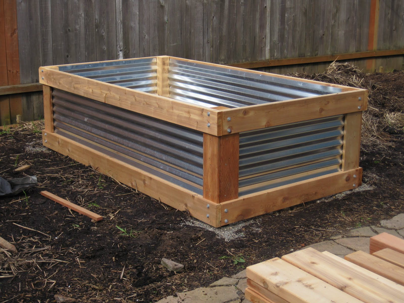 Aristata land arts cedar metal raised bed project for Corrugated metal raised garden beds