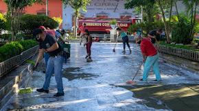 LAVADO DEL PARQUE MIGUEL HIDALGO DE LA CABECERA MUNICIPAL DE COATEPEC