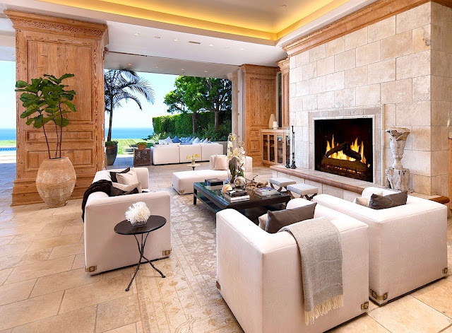 Living room in a multi million dollar beach house in Malibu, CA