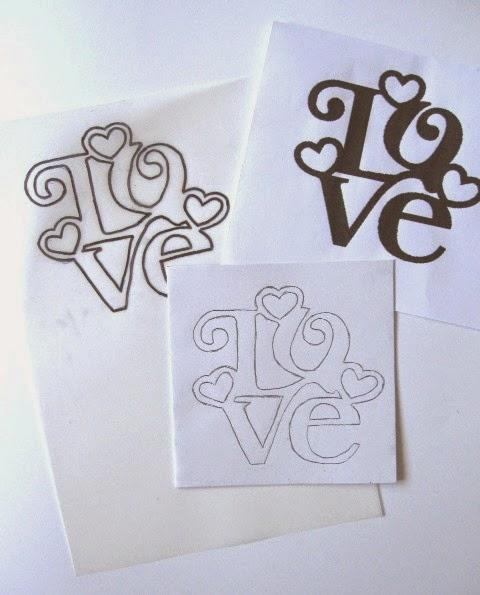como transferir palabra LOVE proyecto scrapbook tarjeta San Valentín