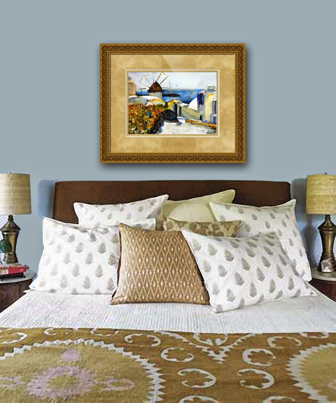 how to decorate a bedroom | how to hang pictures | best way to hang pictures | picture hanging ideas | discover  bedroom decorating ideas http://schulmanart.blogspot.com/2015/03/how-to-hang-pictures-like-pro-bedroom.html