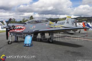 Avión de entrenamiento Embraer T-27 Tucano de la Fuerza Aérea Colombiana