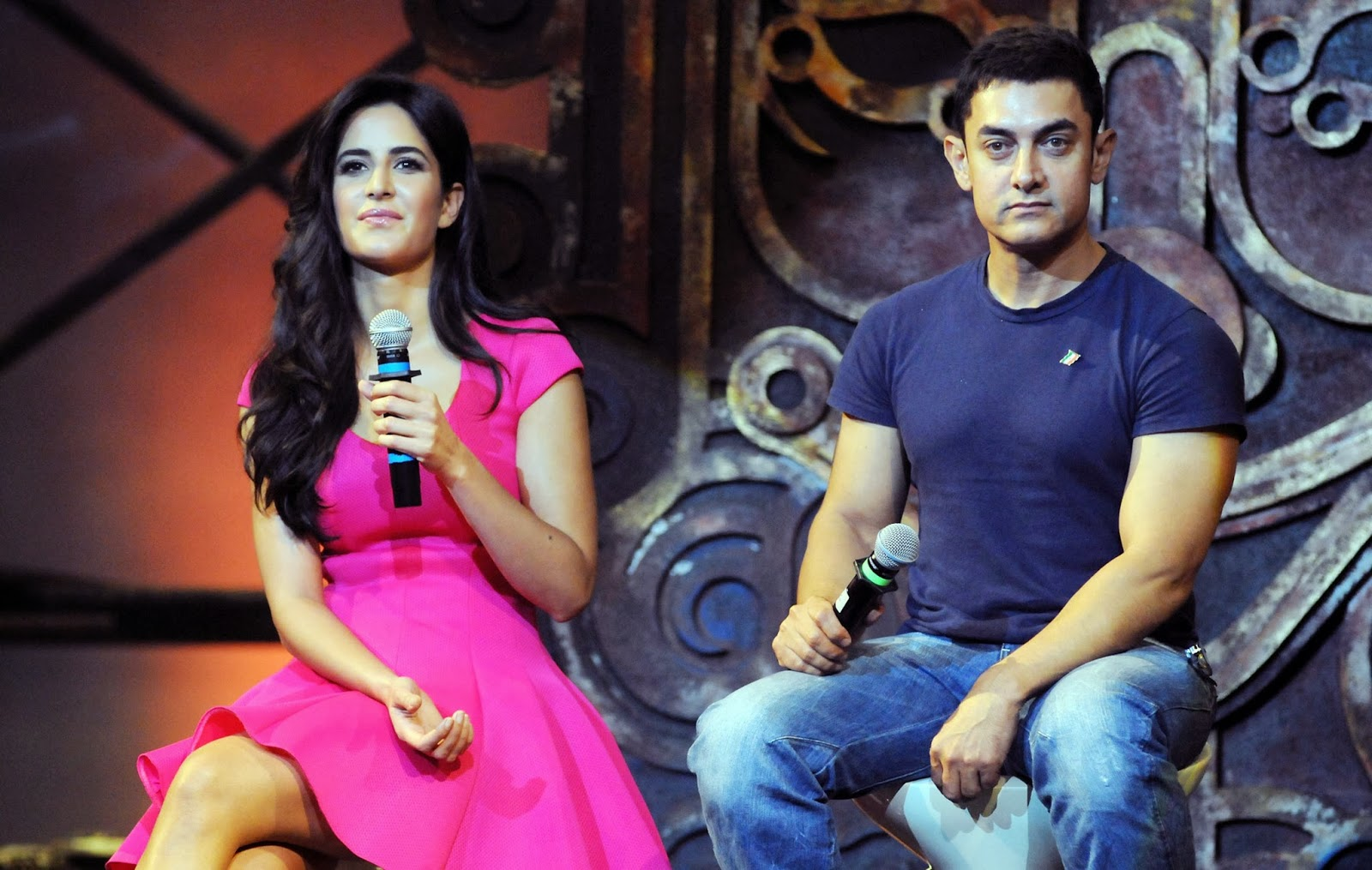 Aamir Khan, Aamir Khan and Katrina Kaif, Actor, Actress, Bollywood, Dhoom 3, Film, Hindi Film, India, Katrina Kaif, Movies, Mumbai, Showbiz, Entertainment, Bollywood actress,