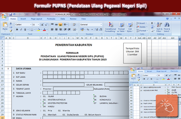 Formulir PUPNS (Pendataan Ulang Pegawai Negeri Sipil) Format Microsoft Excel