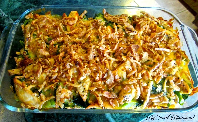 Chicken Broccoli Casserole with French Fried Onions by MySweetMission.net