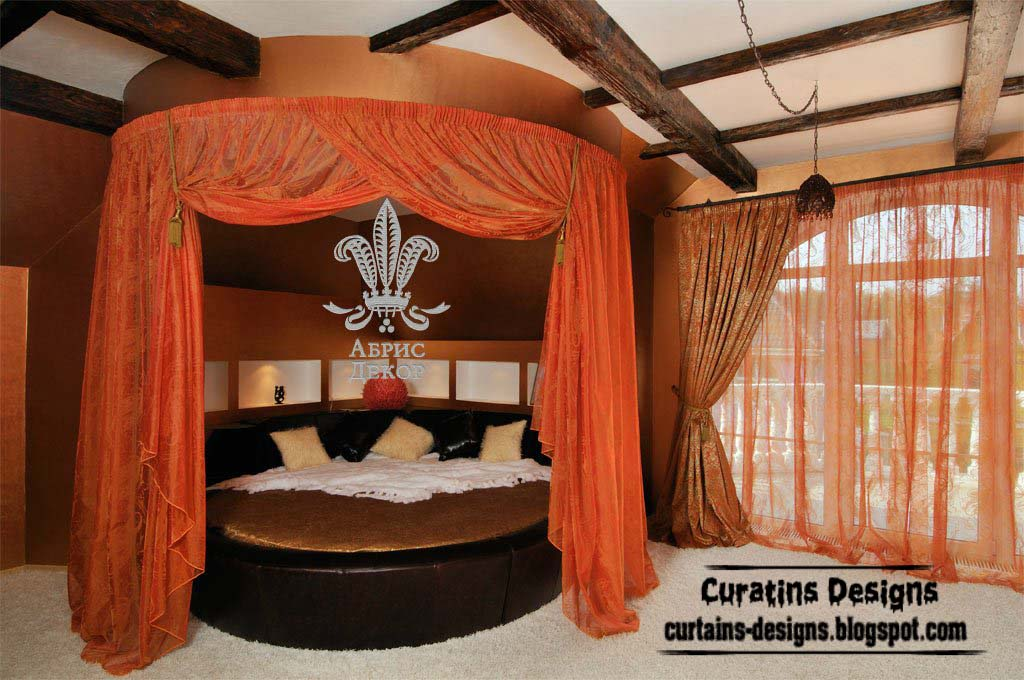 Orange Canopy Bed With Modern Bedroom Curtain Design