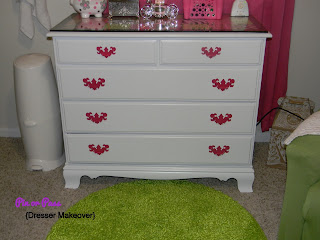 DIY dresser makeover white with hot pink hardware
