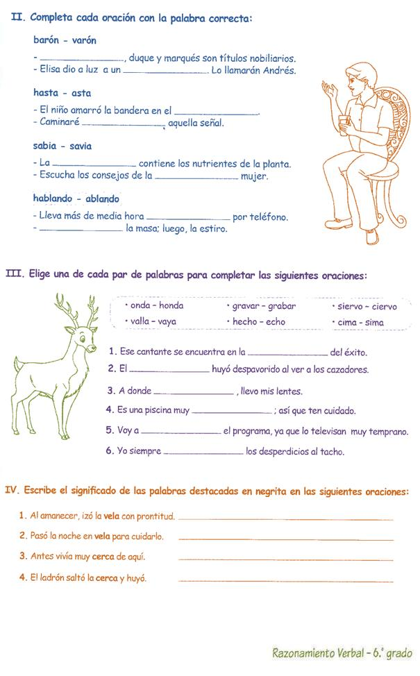 ejercicio verbal fraccion: