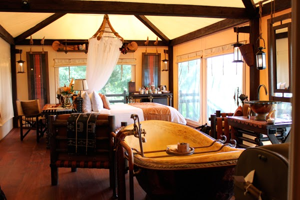Luxury tents at the Four Seasons Tented Camp Golden Triangle, Thailand