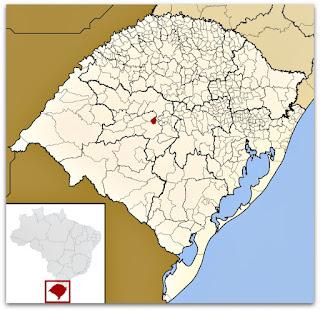 Cidade ed Itaara no mapa do Rio Grande do Sul
