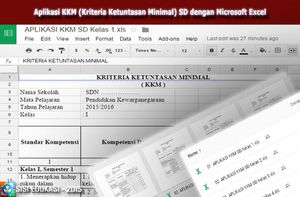 Aplikasi KKM (Kriteria Ketuntasan Minimal) SD dengan Microsoft Excel