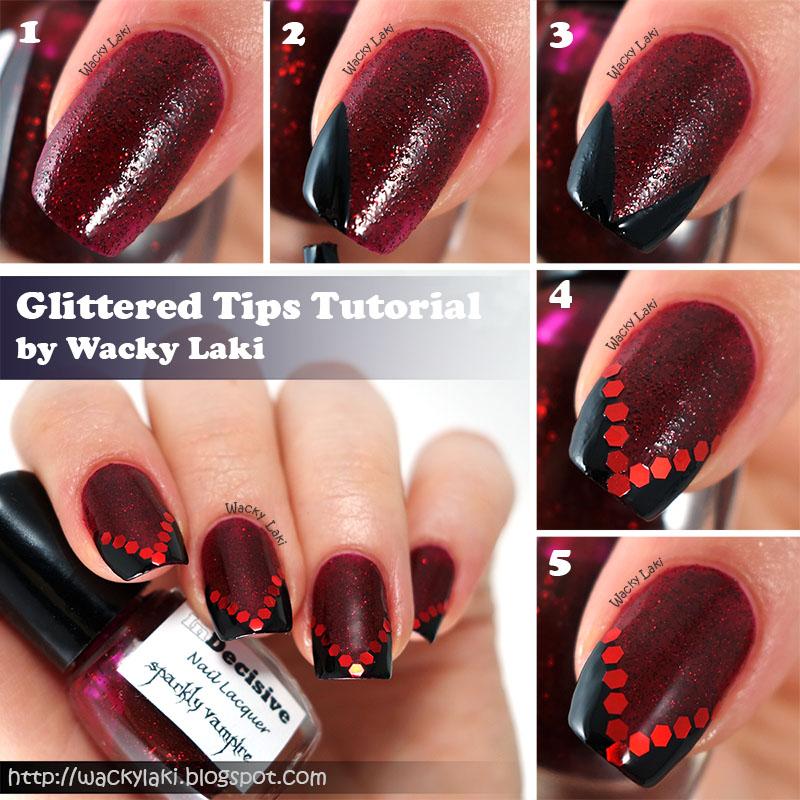 Instructions: - Wacky Laki: Nail Art Tutorial: Sparkly Vampire Tips