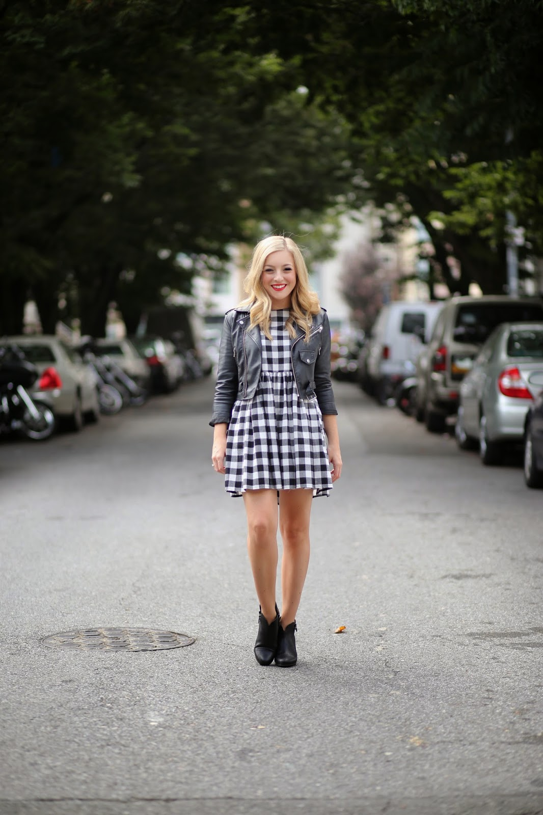 Asos Gingham Smock Dress, Rag and Bone Margot Ankle Boots, Nasty Gal Cropped Leather Jacket