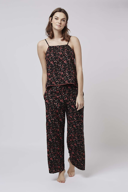 topshop pyjama set, floral pyjama set, flower print pyjamas,