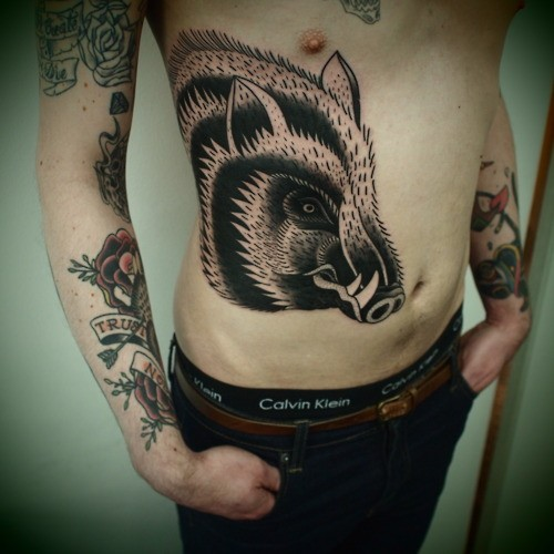 boar+tattoo+stomache Boar tattoo symbolism