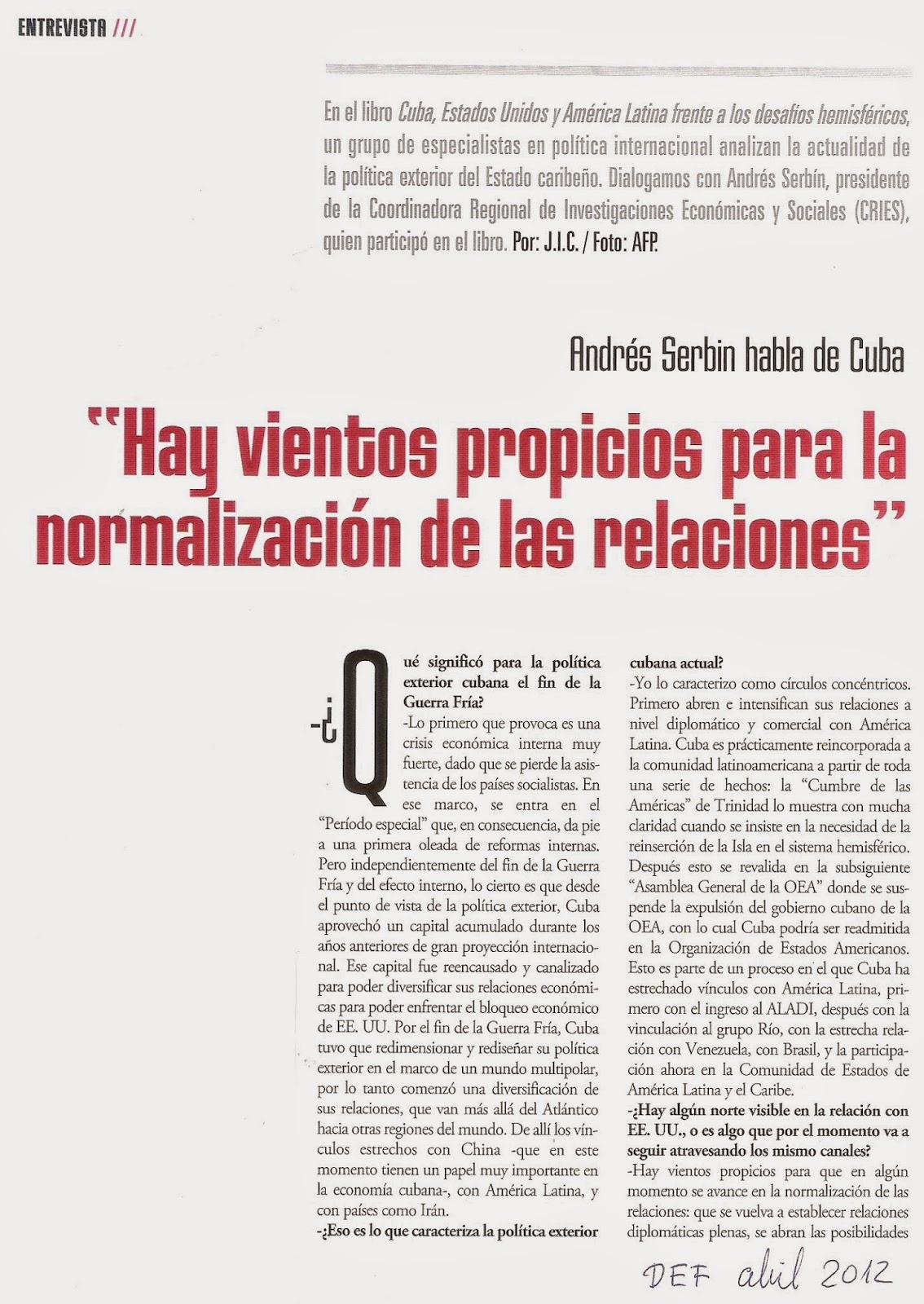 Politica Internacional Argentina: EE.UU. CUBA. REANUDAN RELACIONES ...