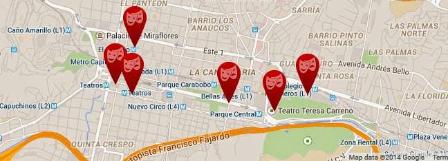 mapa sitios lugares locaciones festival suena caracas
