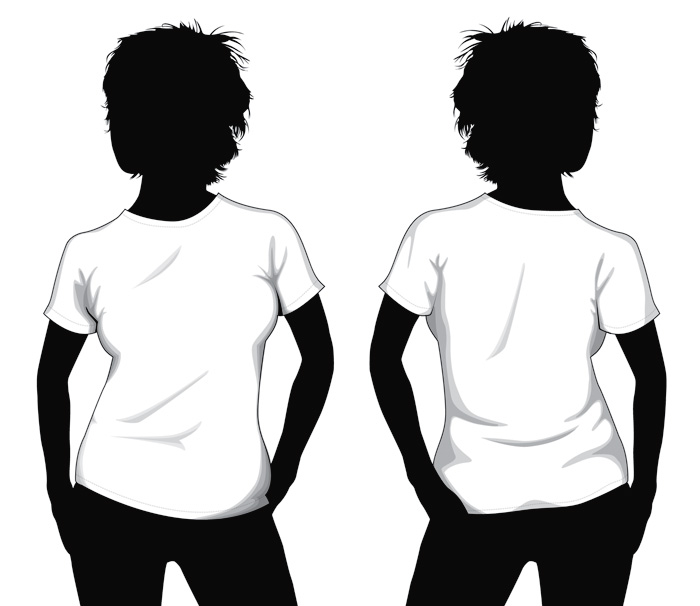 Blank T-Shirt Template for Girls