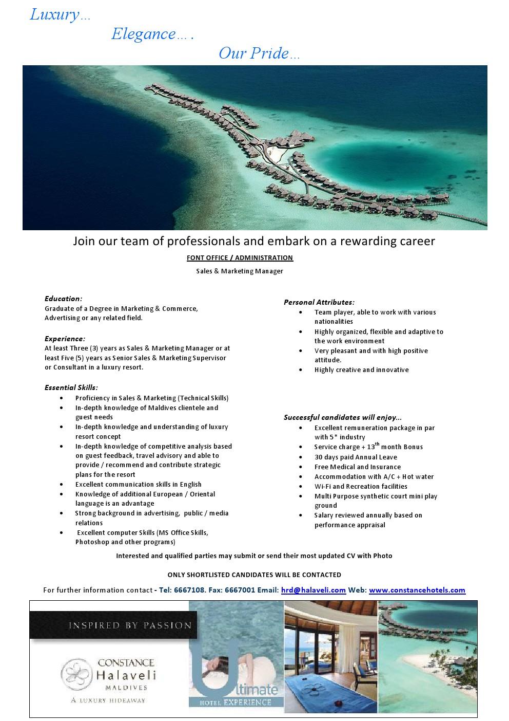 job maldives sales marketing manager job vacancy. Black Bedroom Furniture Sets. Home Design Ideas