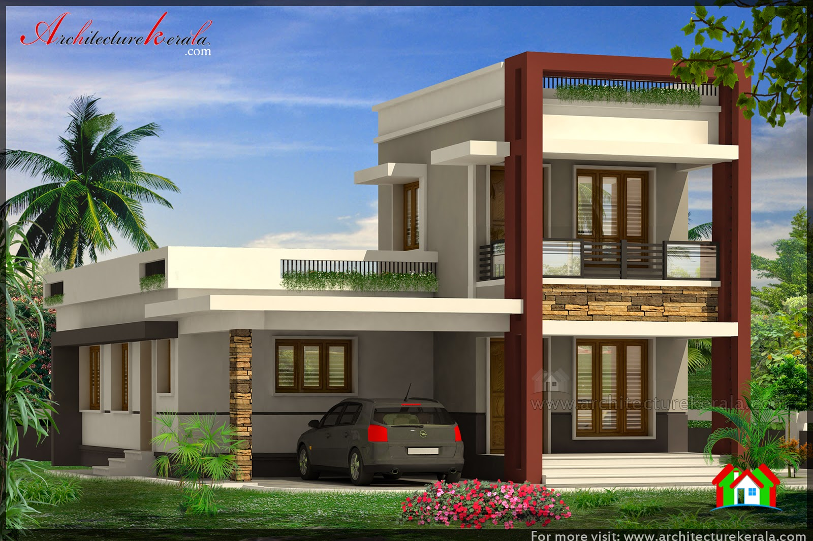 Elevation Plan House : Three bedroom house plan and beautiful elevation
