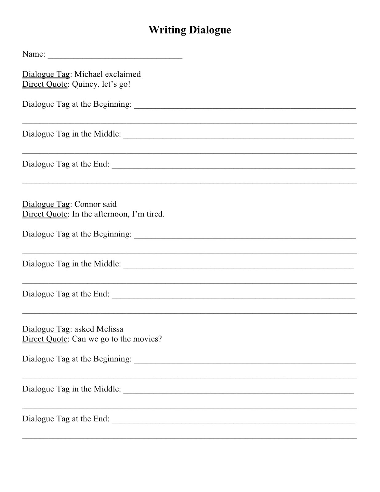 Dialogue writing worksheets for grade 4