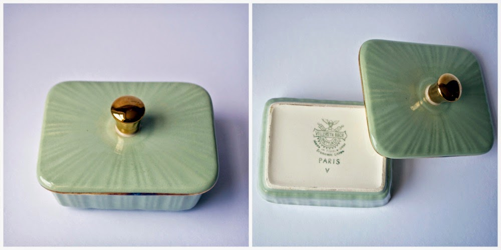 seafoam green and gold ceramic container paris