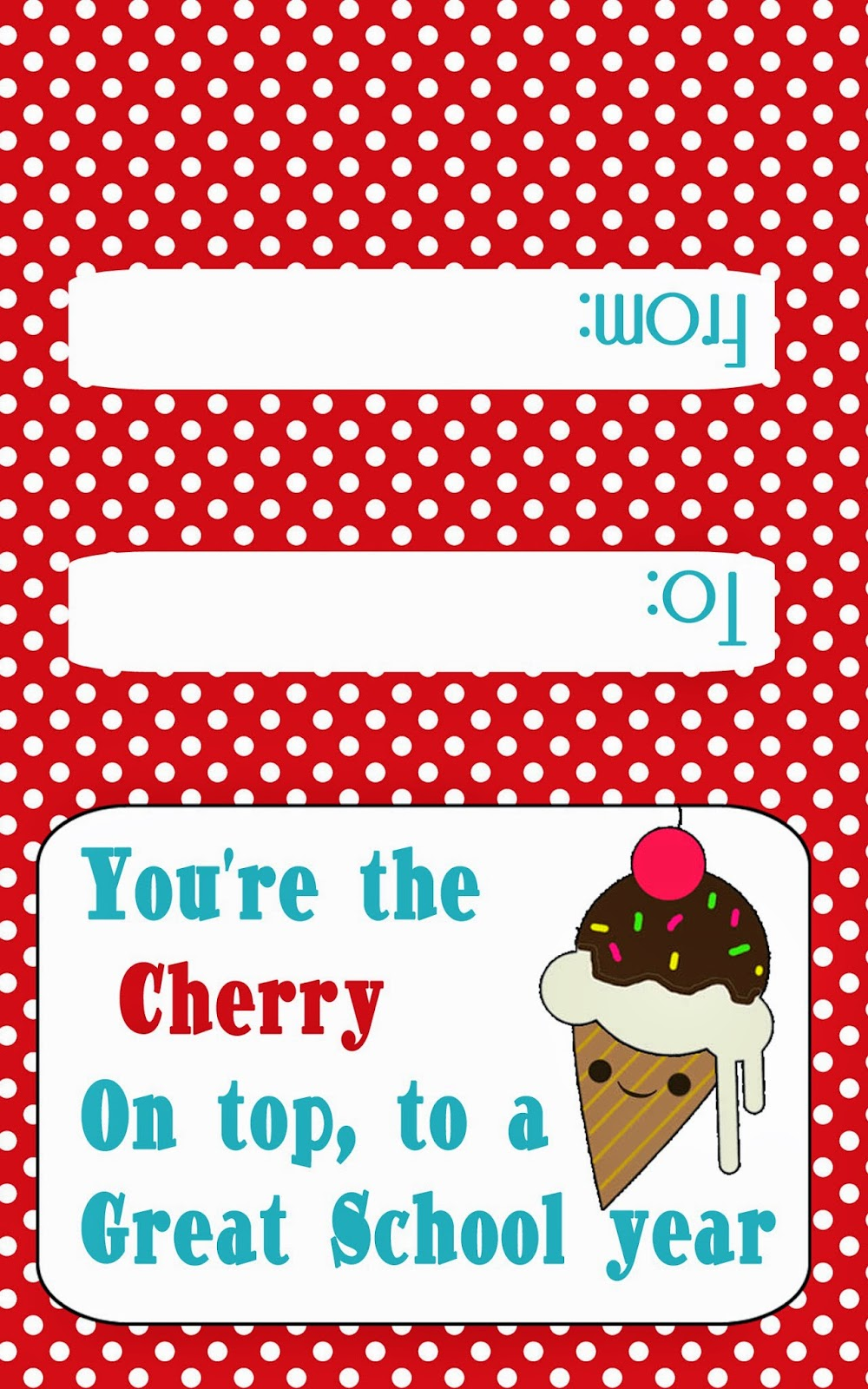 Free Ice Cream gift card printable for teachers www.freetimefrolics.com #teacher  #printable