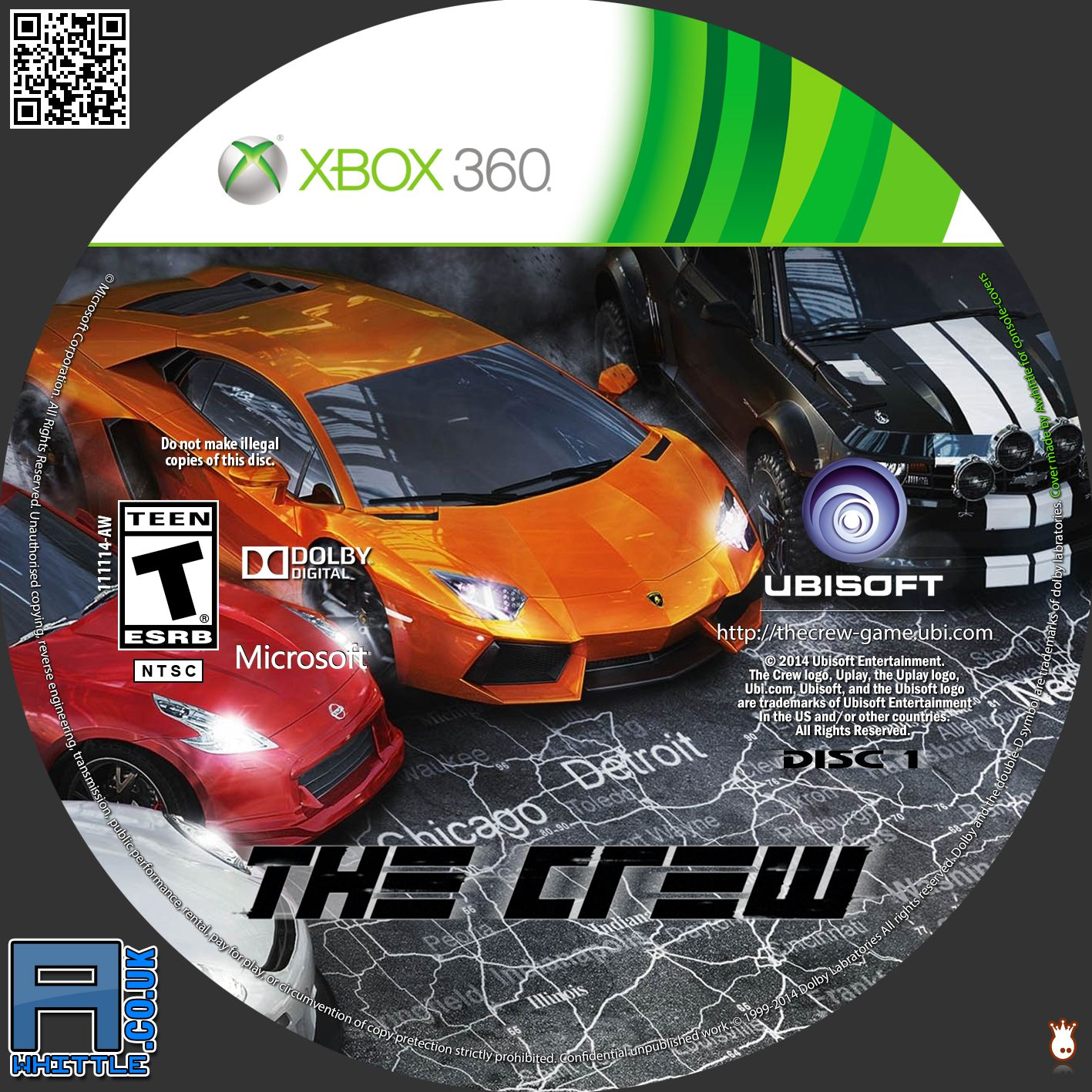 Label The Crew Disc 1 Xbox 360