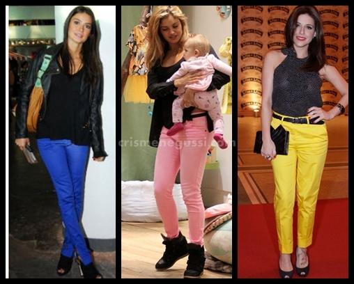 famosas de calça colorida