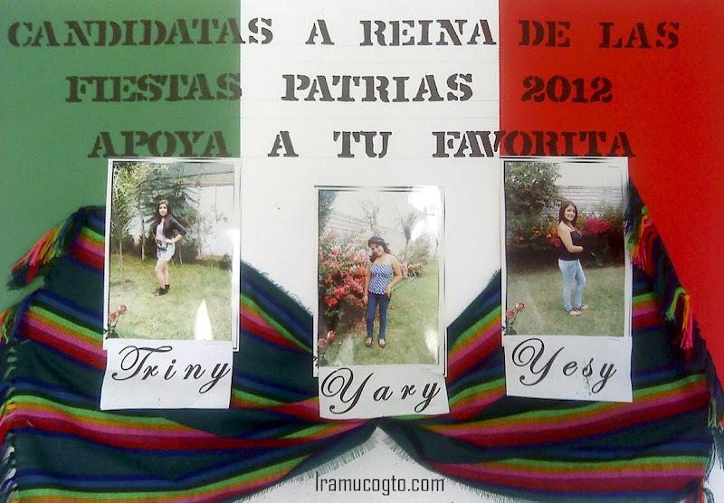 Las 3 candidatas a reina de las fiestas patrias 2012 en Irámuco, Guanajuato