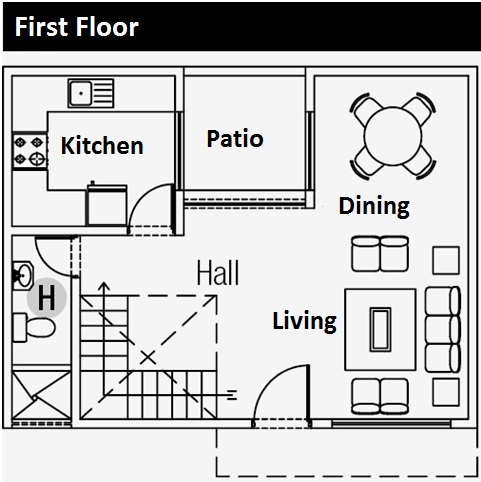 Free plans of 3-story small apartment in 48m2 field